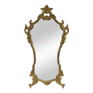 Vintage Italian Venetian Hollywood Regency Gilt Gold Leaf Carved Mirror For Sale