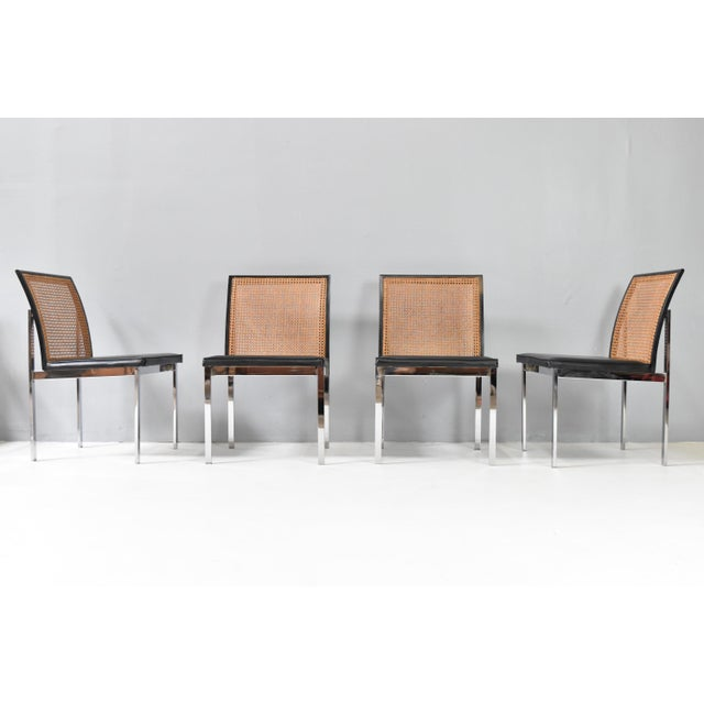 Silver Mid-Century Chrome & Cane Dining Chairs by Lane For Sale - Image 8 of 13