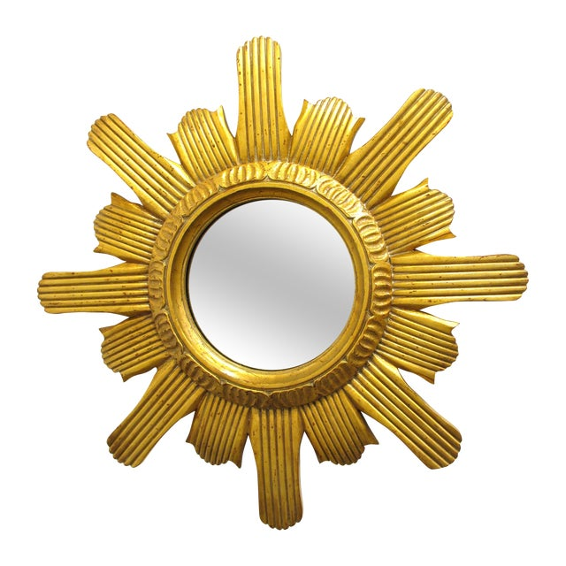 Round Gilded Sunburst Mirror - Image 1 of 6