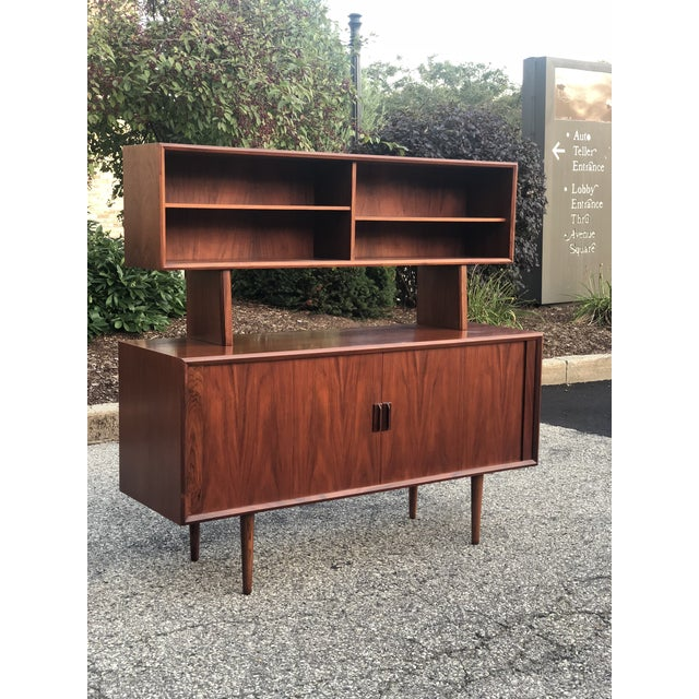 1960s Danish Modern Rosewood Ib Kofod Larsen Faarup Mobelfabrik Credenza With Hutch Top For Sale - Image 13 of 13