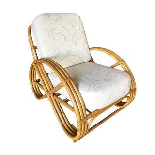 Restored Three-Strand Round Full Pretzel Rattan Lounge Chair For Sale