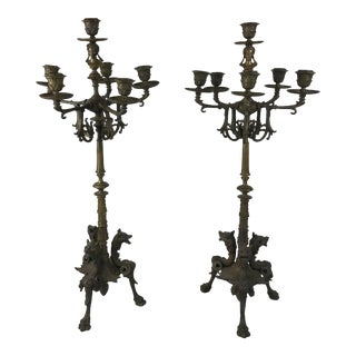 Antique Bronze French Empire Style Six Branch Candelabras - a Pair For Sale