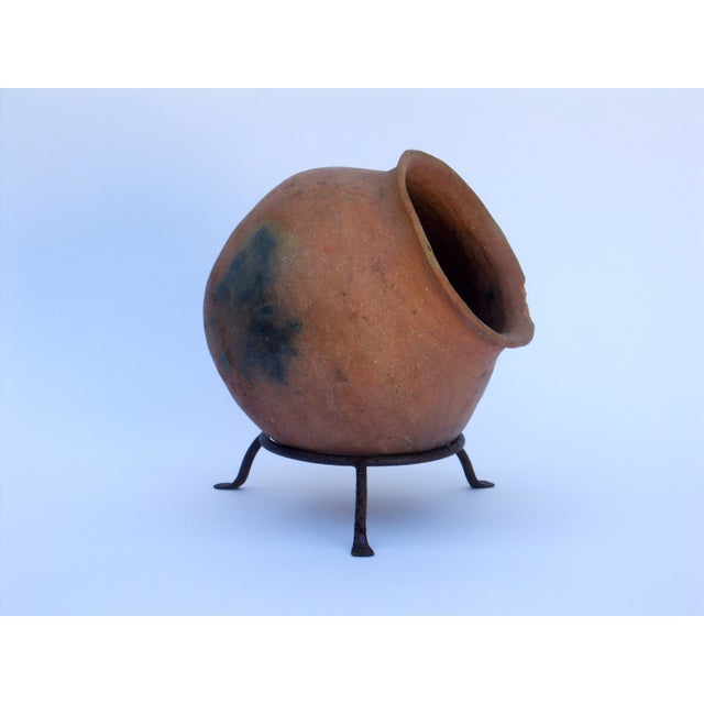 Clay Pot Planter & Metal Stand - Image 3 of 7