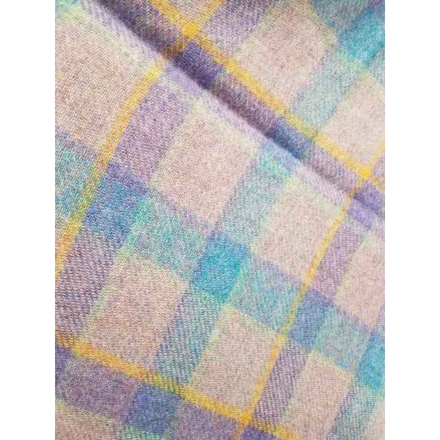 Textile Wool Throw Blue and Purple Stripes on a Gray Background - Made in England For Sale - Image 7 of 11