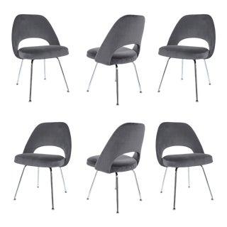 Saarinen Executive Armless Chairs in Gunmetal Grey Velvet - S/6