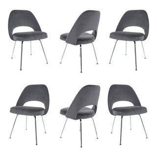 Saarinen Executive Armless Chairs in Gunmetal Velvet - Set of 6 For Sale