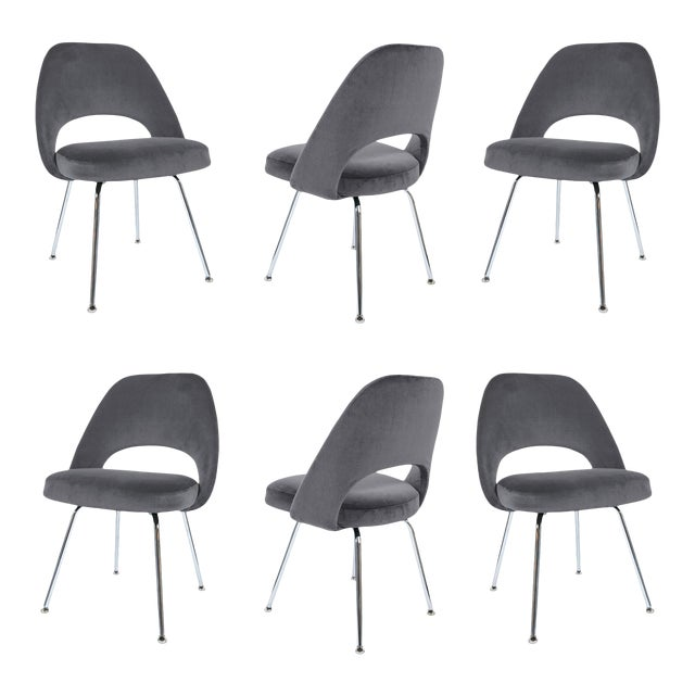 Saarinen Executive Armless Chairs in Gunmetal Velvet - Set of 6 - Image 1 of 5