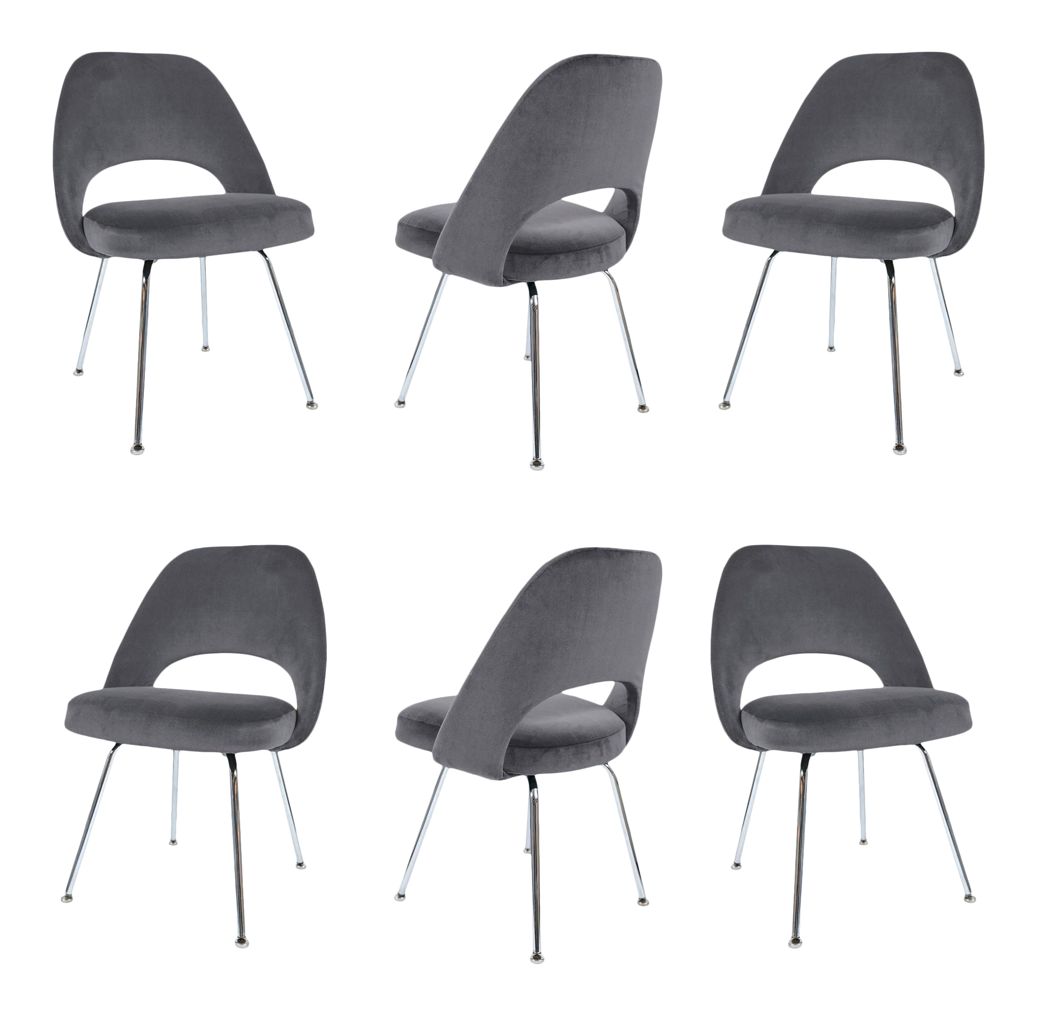 Saarinen Executive Armless Chairs In Gunmetal Velvet   Set Of 6 For Sale