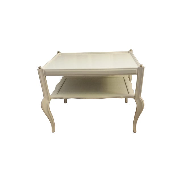 White Solid Wood & Cane Two-Tier End Table - Image 1 of 6