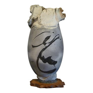 Large Paul Soldner Raku Vase Early Aspen Period For Sale