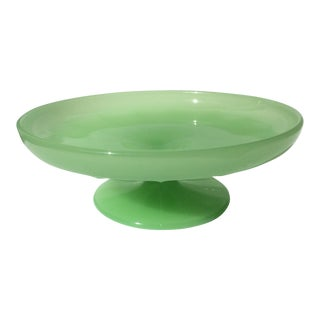 Pedestal Base Green Opaline Dish