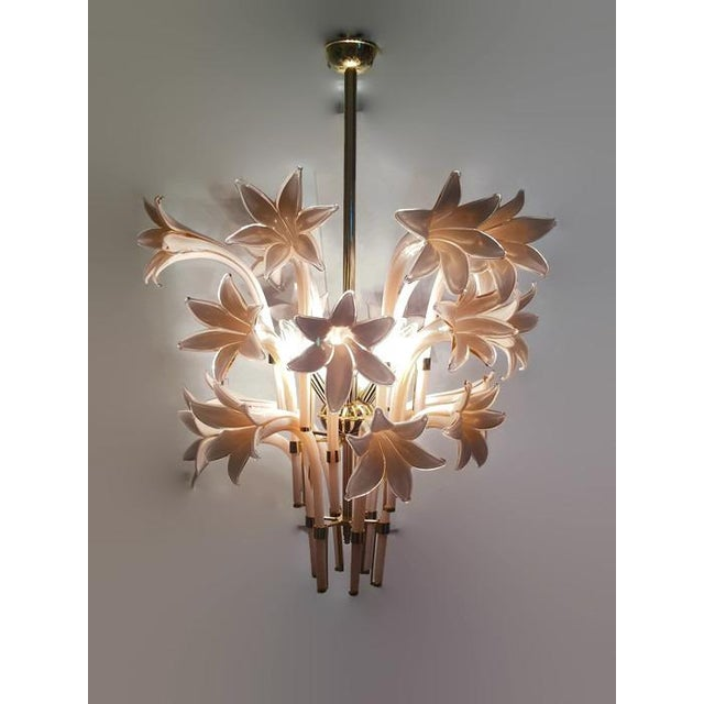 Vintage Pink Lily Murano Chandelier - Image 8 of 10