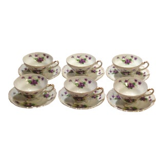 """Norcrest Three Footed """"Sweet Violet"""" Tea Cups & Saucers - Set of 6"""