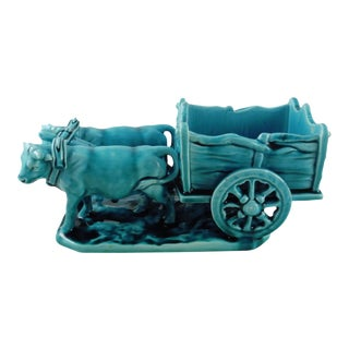 Majolica Turquoise Oxen Cart Clement Massier, Circa 1900 For Sale