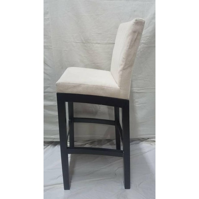Art Deco Cjc Concepta Barcelona Bar Stool Ivory Fabric Wenge Wood Chair For Sale - Image 3 of 11
