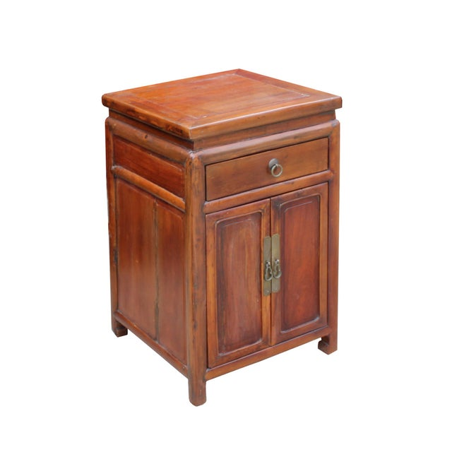 Chinese Ming Style Republic China Brown Simple End Table Nightstand For Sale In San Francisco - Image 6 of 8