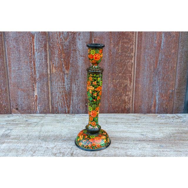 Black Floral Kashmiri Candle Holder For Sale In Los Angeles - Image 6 of 6