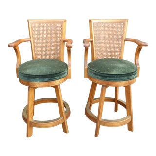 Vintage Mid-Century Modern Cane Back Oak Green Velvet Counter Bar Stools - a Pair