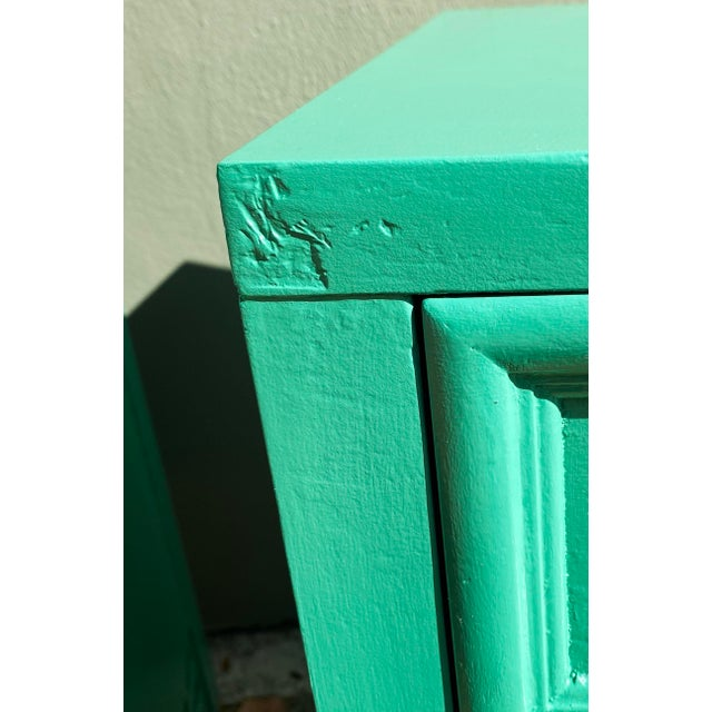 1960's Dixie Shagri La Green and Gold Leaf Hollywood Regency Nightstands- a Pair For Sale - Image 9 of 13