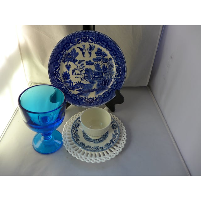 Farmhouse Vintage Mismatched Lunch Settings - Set of 5 For Sale - Image 3 of 6