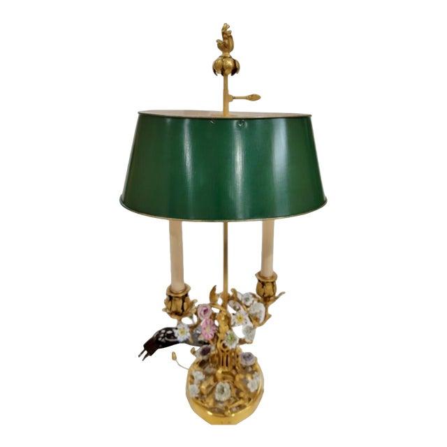 Antique 19th C Louis XV Gilt Bronze & Enamel Bouillotte Lamp For Sale - Image 4 of 4