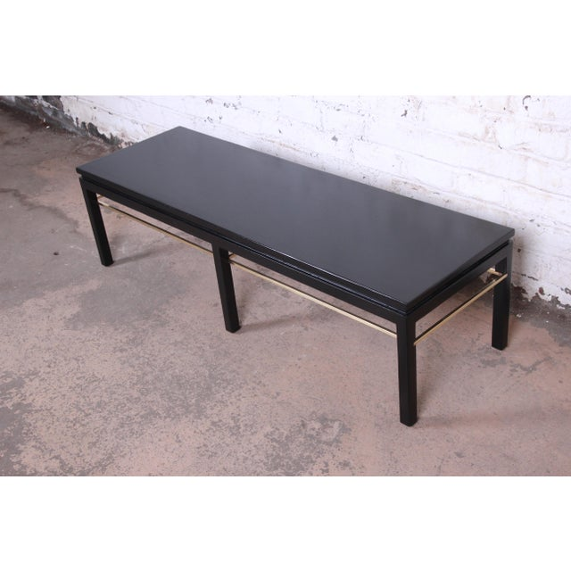 Contemporary Edward Wormley for Dunbar Ebonized Walnut and Brass Coffee Table, Newly Restored For Sale - Image 3 of 9