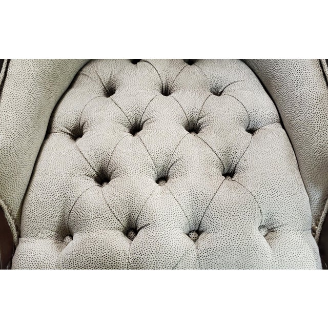 Greige Thomasville Furniture Ernest Hemingway Anson Tufted & Leather Accent Chair For Sale - Image 8 of 13