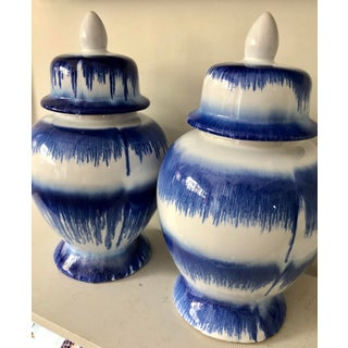 Blue & White Stroke Ginger Jars Preview