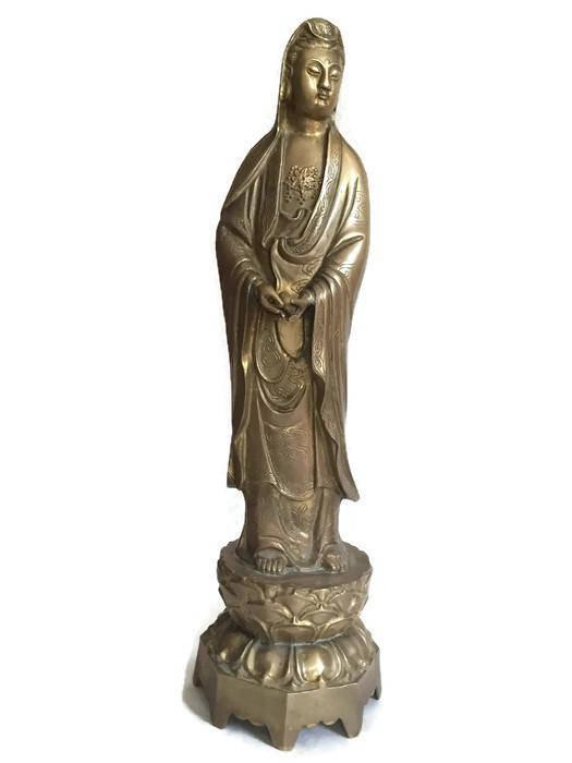 Sculptures and Statues Home Decor,Modern Brass Guan Yin Statue Feng Shui Compassion Goddess Guanyin Yusa Sculpture Statue Collection Home Decoration-Brown/_18.1Inch