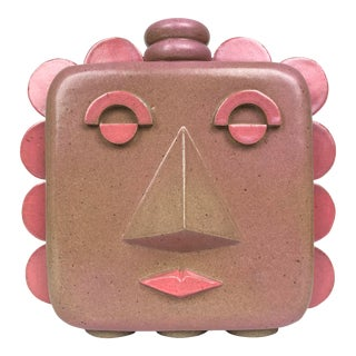 2020 Contemporary Ceramic Stoneware Pink Face Jug Vase, 'Beatrice' by Keavy Murphree For Sale