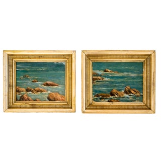 Pair of Original Seascape Paintings in Gilt Frames