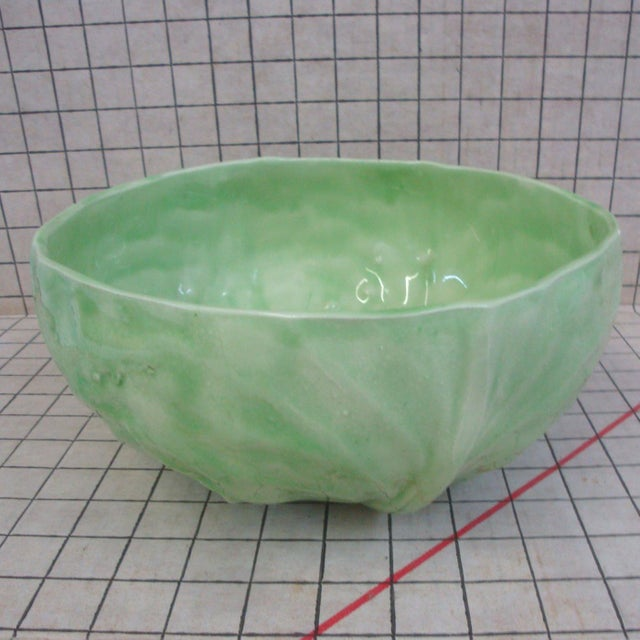 Wonderful one-of-a-kind individually handmade ceramic or pottery bowl formed from actual leaf imprints of cabbage or...