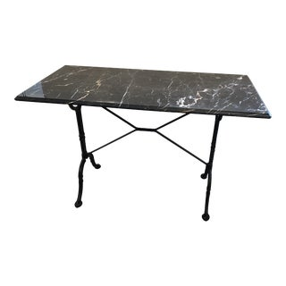 Black and White Marble and Wrought Iron Console Writing Table Desk For Sale
