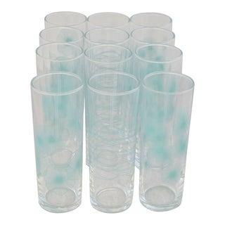 Mid-Century Aqua Atomic Design Collins Glasses - Set of 12 For Sale