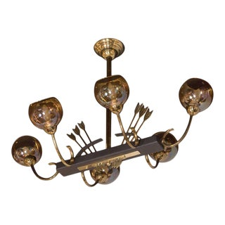 French Mid-Century Modern Flying Arrow Chandelier in Brass and Ebonized Walnut For Sale
