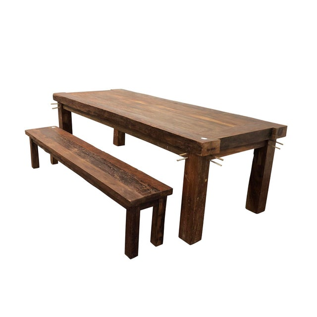 Miraculous Rustic Old Teak Dining Table Bench Andrewgaddart Wooden Chair Designs For Living Room Andrewgaddartcom