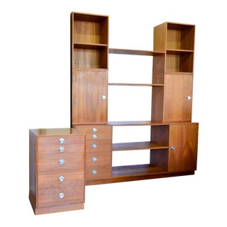 1960s Vintage Finn Juhl for France & Son Teak Wall Unit Bookcase & Side Table For Sale