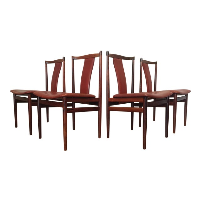 Henning Sorensen Rosewood & Leather Dining Chairs - Set of 4 For Sale