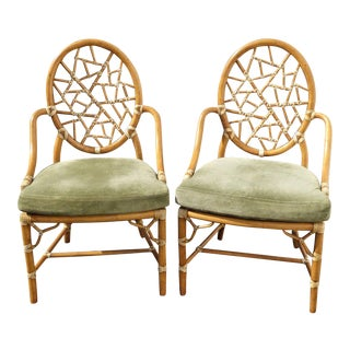 Vintage McGuire Cracked Ice Bamboo Rattan Armchairs - A Pair