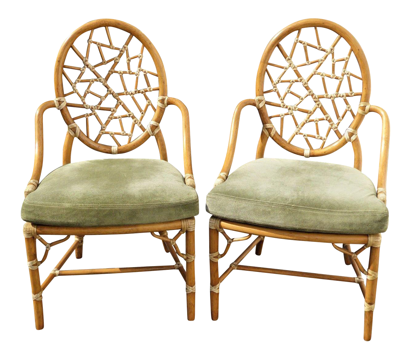 Vintage McGuire Cracked Ice Bamboo Rattan Armchairs   A Pair