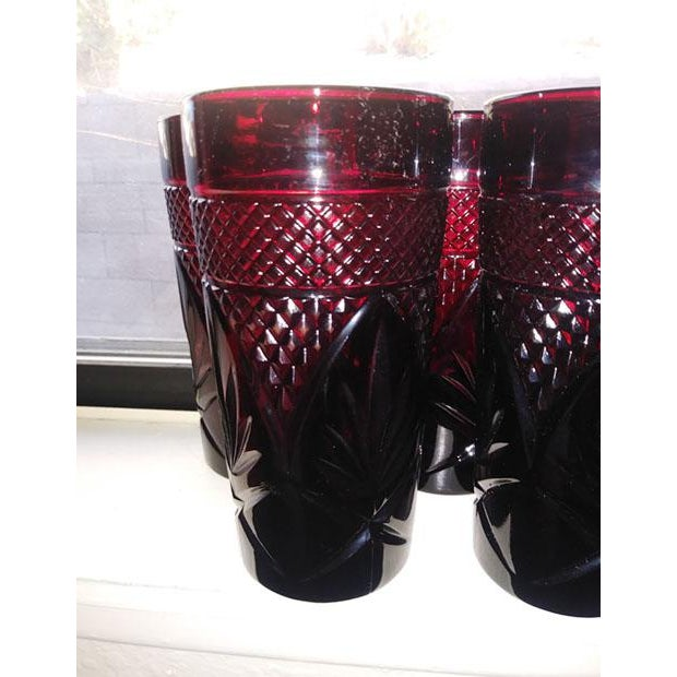 Antique Ruby Glasses by Cristal d'Arques-Durand - Set of 6 For Sale In Los Angeles - Image 6 of 7