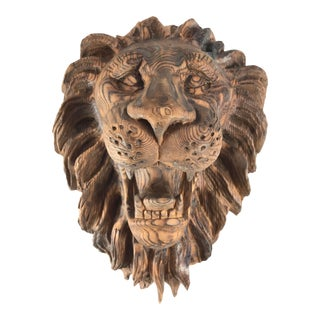 Late 20th Century Vintage Hand Carved Wooden Lion's Head For Sale