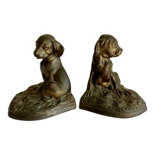 Vintage Bronze Dog Bookends, a Pair For Sale
