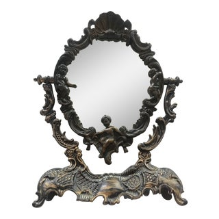 Vintage French Baroque Oval Vanity Table Mirror on Pedestal For Sale