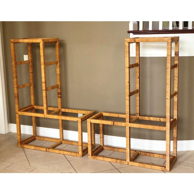 Brown 1970s Boho Chic Franco Albini Rattan Wrapped Etageres – a Pair For Sale - Image 8 of 9