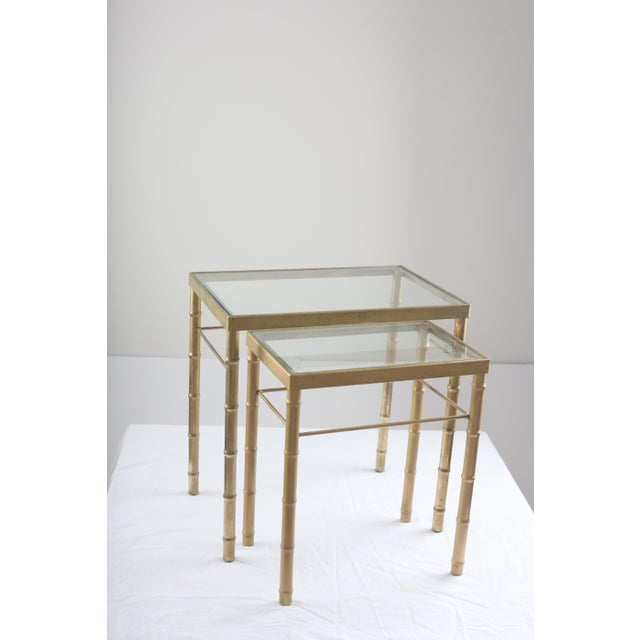Faux Bamboo Brass & Glass Nesting Tables - Pair - Image 2 of 8