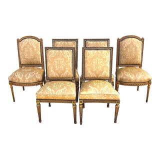 Louis XVI Dining Chairs Hand Carved Silk Upholstery - Set of 6 For Sale