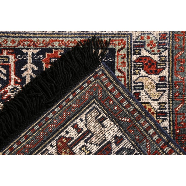 2010s Rug & Kilim's Classic Style Rug in Blue and Red Geometric Tribal Pattern For Sale - Image 5 of 5