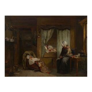 """Sleeping Baby"" Dutch Antique Oil Painting by Sipke Cornelis Kool (Dutch, 1836-1902) For Sale"