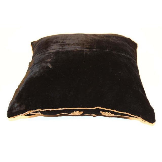 Black silk Velvet pillow hand embroidered with gold threads. The pattern is on the front of the pillow. Handcrafted throw...